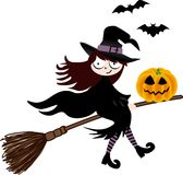 A witch and pumpkin halloween flying on broom Stock Image