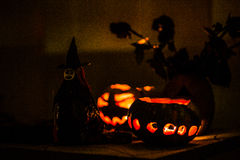 Witch and pumpkin in the night. Witch and pumpkin glowing on Halloween night Stock Photography