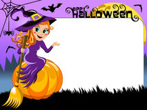 Witch pumpkin presenting blank white frame Royalty Free Stock Images