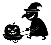 Witch with pumpkin, silhouette Stock Images