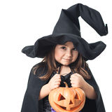 Witch with pumpkin on a white background Royalty Free Stock Photography