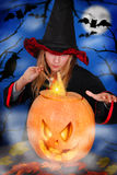 Witch with pumpkin Royalty Free Stock Image