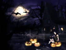 Witch with pumpkins Royalty Free Stock Images