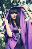 Witch in a purple cloak royalty free stock image