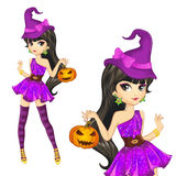 Witch In Purple Dress With Pumpkin Royalty Free Stock Photo