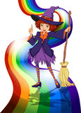 A witch at the rainbow Stock Photos