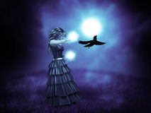 Witch and raven. Abstract illustration of woman in black and raven Royalty Free Stock Photography