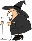 Witch reading from a long paper Royalty Free Stock Photos