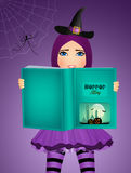 Witch reads stories of fear on Halloween. Illustration of witch reads stories of fear on Halloween royalty free illustration