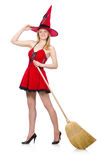 Witch in red dress Royalty Free Stock Photo