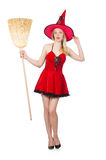 Witch in red dress Stock Image