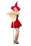 Witch in red dress Stock Images