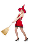 Witch in red dress Stock Photo