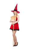 Witch in red dress Royalty Free Stock Images
