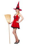 Witch in red dress Royalty Free Stock Photos