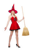 Witch in red dress Stock Photos
