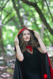 a witch in a red hat in the middle of a forest royalty free stock photo