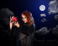 Witch with red potion on night sky background Stock Photo