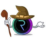 Witch request network coin mascot cartoon. Vector illustration Royalty Free Stock Photos