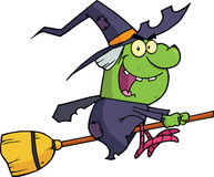 Witch Ride A Broomstick. Happy Witch Ride A Broomstick Cartoon Character stock illustration