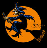 Witch ride a flying broomstick stock illustration