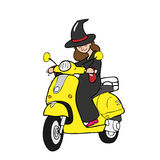 Witch rides scooter cartoon Stock Photography