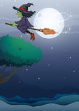 A witch riding a broom along the fullmoon Stock Image