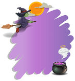 A witch riding on a broom and an empty violet template Royalty Free Stock Photos
