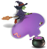 A witch riding on a broom with a pot Stock Photography