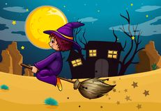 A witch riding in her broom Stock Photo