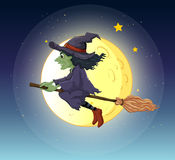 A witch riding with her broomstick Royalty Free Stock Image