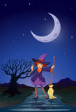 A witch at the road in the middle of the night Royalty Free Stock Photography