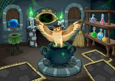 The witch room with owl. Vector cartoon illustration for halloween and games royalty free illustration