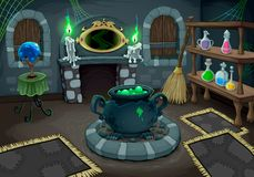 The witch room. Vector cartoon illustration for halloween and games vector illustration