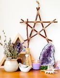 Witch`s Altar With Crystals, Sage Smudge Stick, Branch Pentagram Royalty Free Stock Photo