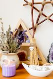 Witch`s Altar With Crystals, Sage Smudge Stick, Mini Broom With Royalty Free Stock Photos