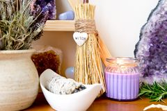 Witch`s Altar With Crystals, Sage Smudge Stick, Mini Broom With Royalty Free Stock Photo