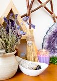 Witch`s Altar With Crystals, Sage Smudge Stick, Mini Broom With Royalty Free Stock Photography