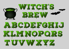 Witch's brew alphabet with cauldron for your design. Halloween concept. Vector illustration Royalty Free Stock Photos