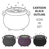 Witch`s cauldron icon in cartoon style isolated on white background. Black and white magic symbol stock vector Royalty Free Stock Image