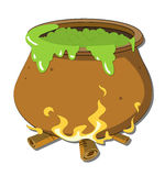 Witch's Cauldron. A cauldron is a large metal pot for cooking and boiling over an open fire, with a large mouth Stock Image