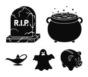A witch`s cauldron, a tombstone, a ghost, a gin lamp.Black and white magic set collection icons in black style vector. Symbol stock illustration royalty free illustration