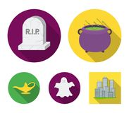 A witch`s cauldron, a tombstone, a ghost, a gin lamp.Black and white magic set collection icons in flat style vector. Symbol stock illustration stock illustration