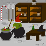 Witch's Christmas. The witch join the christmas too Royalty Free Stock Image