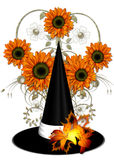 Witch's Hat with Orange Sunflowers Stock Photos