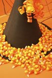 Witch's Hat with Spider Web and Candy Corn. Halloween arrangement of witch's hat, spider web and candy corn royalty free stock photo