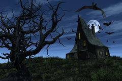 Witch's House. A witch's house sits on a hill, surrounded by bats, overlooking an old twisted tree and a twilight sky - 3D render Stock Photography