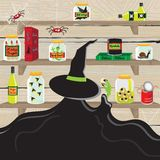 Witch's Magic Pantry Kitchen. Witch in the pantry kitchen with creepy items Stock Photo