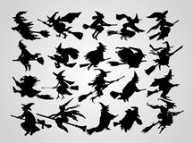 Witch's silhouette. Illustration background Stock Photo