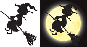 Witch's silhouette - Halloween character Stock Images